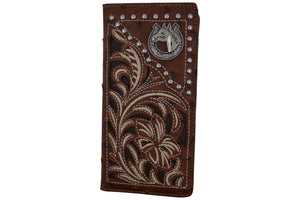 Marshal Clothing, Shoes & Accessories Mens Western Floral Horse Logo Bifold Credit Card CheckBook Wallet Texas Style W052-15-OSTRICH-BR (C)