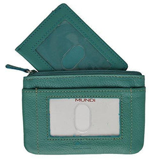 Mundi Ladies Change Purse with ID Window with Detachable Id Sleeve (Teal) - wallets for men's at mens wallet