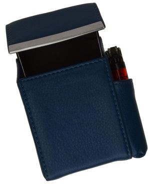 Marshal Clothing, Shoes & Accessories Black Genuine Leather Cigarette Case Holder with Lighter Pocket 92812 (C)