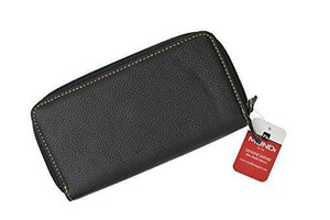 New Ladies Mundi Leather Checkbook Double Zip Around Wallet Organizer (Black) - wallets for men's at mens wallet