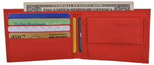 New Red Slim Compact Kids Nylon Bifold Boys Wallet with Coin Pouch - wallets for men's at mens wallet
