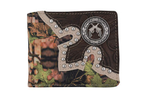 Pistol Mens Western Style Credit Card ID Bifold Camo Wallet W041-16-CAMO-BK (C) - wallets for men's at mens wallet