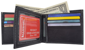 Marshal Clothing, Shoes & Accessories Premium Soft Leather Center Flap ID Card Holder Bifold Wallet 960052