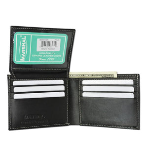Marshal Clothing, Shoes & Accessories Premium Soft Leather Flap Up ID Card Holder Bifold Mens Black Wallet 960053