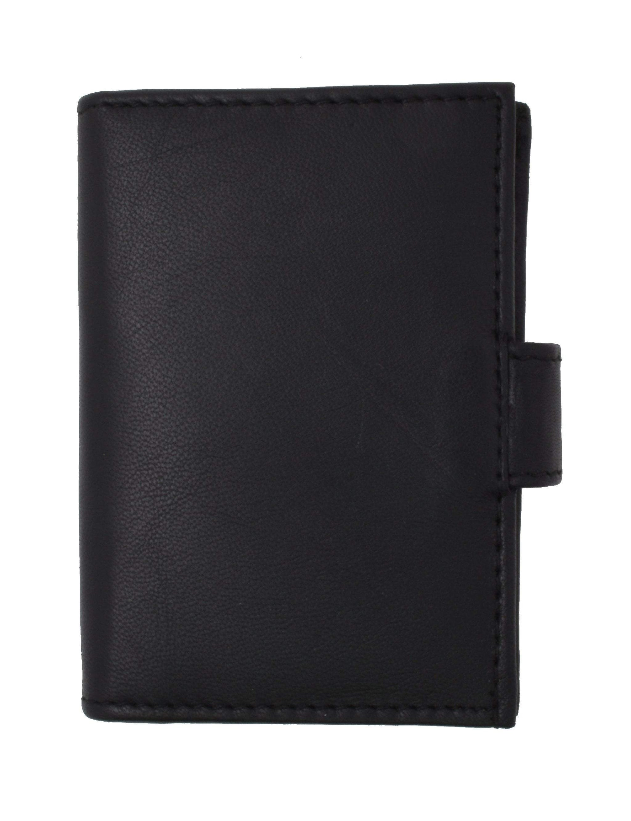 Premium Soft Leather RFID Blocking Credit Card ID Holder with Snap Closure