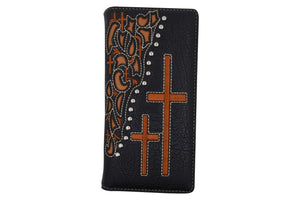 PU Leather Western Men Checkbook Credit Card Wallet Floral Cross Design Texas Style W056-BK-BR (C) - wallets for men's at mens wallet