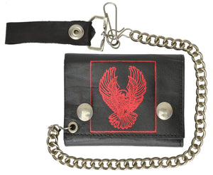Red Eagle Imprint Biker Chain Trifold Wallet Genuine Leather 946-43 (C) - wallets for men's at mens wallet