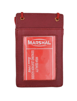 Marshal Clothing, Shoes & Accessories Black New Leather Neck Strap ID Badge Credit Card Holder Pouch Wallet Mini CrossBody 561 R (C)