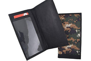 RFID Blocking Brand New Hand Crafted Army Camo Genuine Soft Leather Checkbook Cover simple-156 - wallets for men's at mens wallet