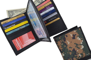 RFID Blocking Camouflage Bifold Hipster Multi Credit Card ID Holder Camo Wallet Premium Leather - wallets for men's at mens wallet