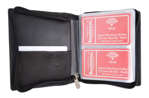 Marshal Clothing, Shoes & Accessories RFID Blocking Soft Genuine Leather Zip-Around Credit Card Holder Wallet RFIDP2670