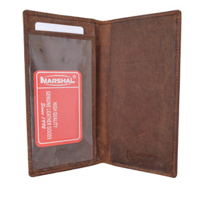RFID Blocking Vintage Style Genuine Leather Simple Checkbook Cover RFID156HTC - wallets for men's at mens wallet