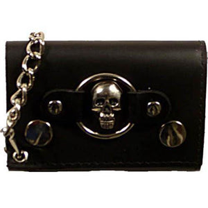 Skull Logo Genuine Leather Trifold Biker's Wallet ID Card Holder w/ Chain 1046-6 (C) - wallets for men's at mens wallet