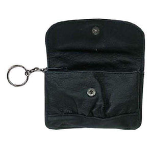 Small Black Leather Change Purse with Key Ring 828 (C) - wallets for men's at mens wallet