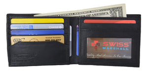 Marshal Clothing, Shoes & Accessories Swiss Marshal Men's Soft Premium Leather Bifold ID Credit Card Money Wallet SW-P60