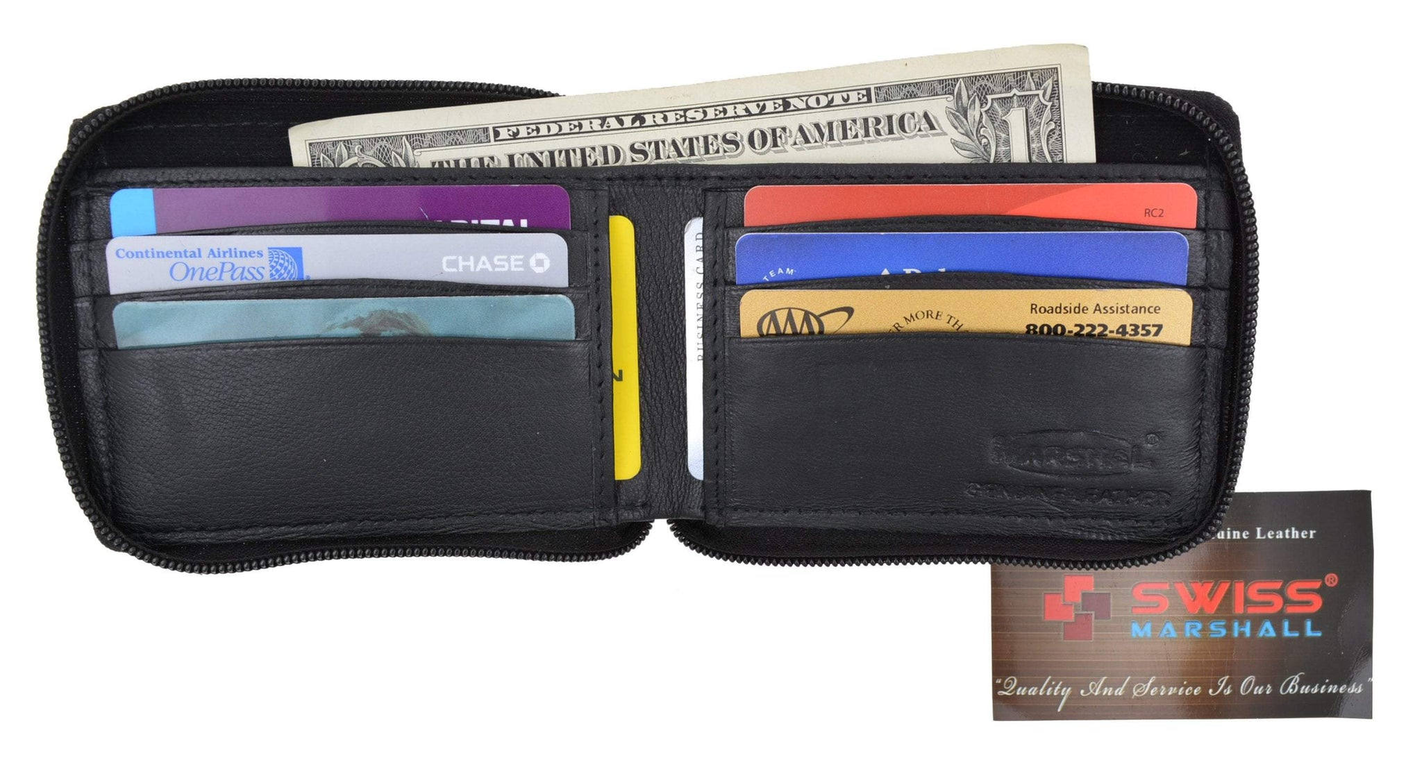 buy popular 401eb a44f4 Swiss Marshal Zip Around Premium Genuine Leather Credit Card Holder Bifold  Wallet with Outside Zippered Pocket SM-P1674