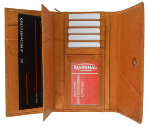 Marshal Clothing, Shoes & Accessories Tan Ladies Genuine Leather Checkbook Wallet Organizer with Detachable Sleeve and ID Window 5575 CF (C)