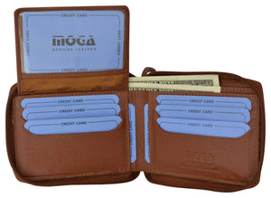 Moga Italian Design Mens Handmade Italian Design Leather Zip Around Bifold Wallet 91256 - wallets for men's at mens wallet