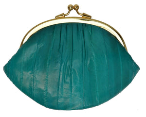 Marshal Clothing, Shoes & Accessories Teal Eel Skin Large Double Coin Purse Change Wallet E 10 BIG