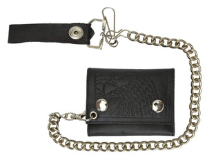 Marshal Clothing, Shoes & Accessories USA Eagle Imprint Genuine Leather Biker Chain Trifold Wallet 946-50 (C)