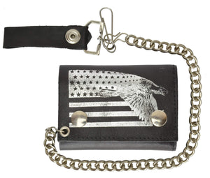 Marshal Clothing, Shoes & Accessories USA Flag and Eagle Imprint Biker Chain Trifold Wallet Genuine Leather 946-41 (C)