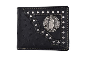 Western Virgin Mary Badge Ostrich Print PU Leather Bifold Black Wallet W012-17-OSTRICH-BK (C) - wallets for men's at mens wallet