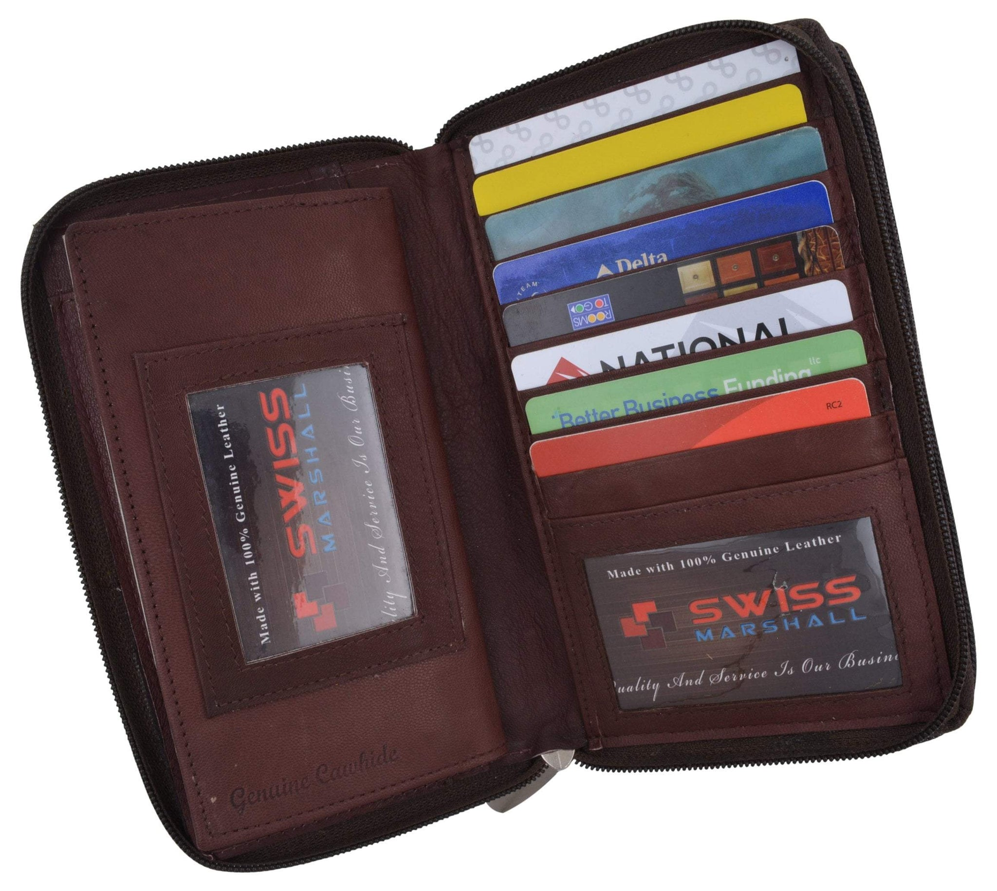 CHECKBOOK CREDIT CARD HOLDER ZIPPER NEW TAN GENUINE LEATHER