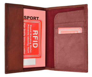 Marshalwallet Burgundy Leather RFID Blocking Passport Case Holder Cover Access Reader Travel New RFID 601 (C)