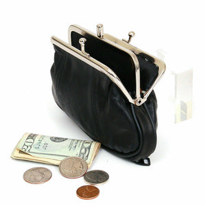 Black Genuine Leather Woman Coin Purse Double Frame Change Wallet New