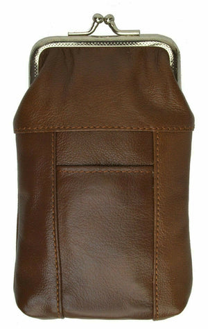 Brown Cigarette Leather Case Lighter Pouch Clip Top Regular 100's Holder