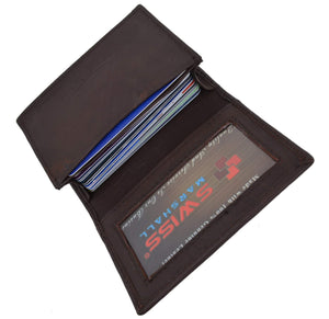 Swiss Marshal Clothing, Shoes & Accessories Black Swiss Marshal RFID Blocking Soft Genuine Leather Expandable Credit Card Outside ID Business Card Holder Wallet SW-RFID-P70