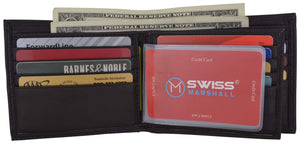 Swiss Marshall Clothing, Shoes & Accessories Brown Men's RFID Blocking Premium Leather Bifold Multi-Card Compact Center Flip Wallet by Swiss Marshall