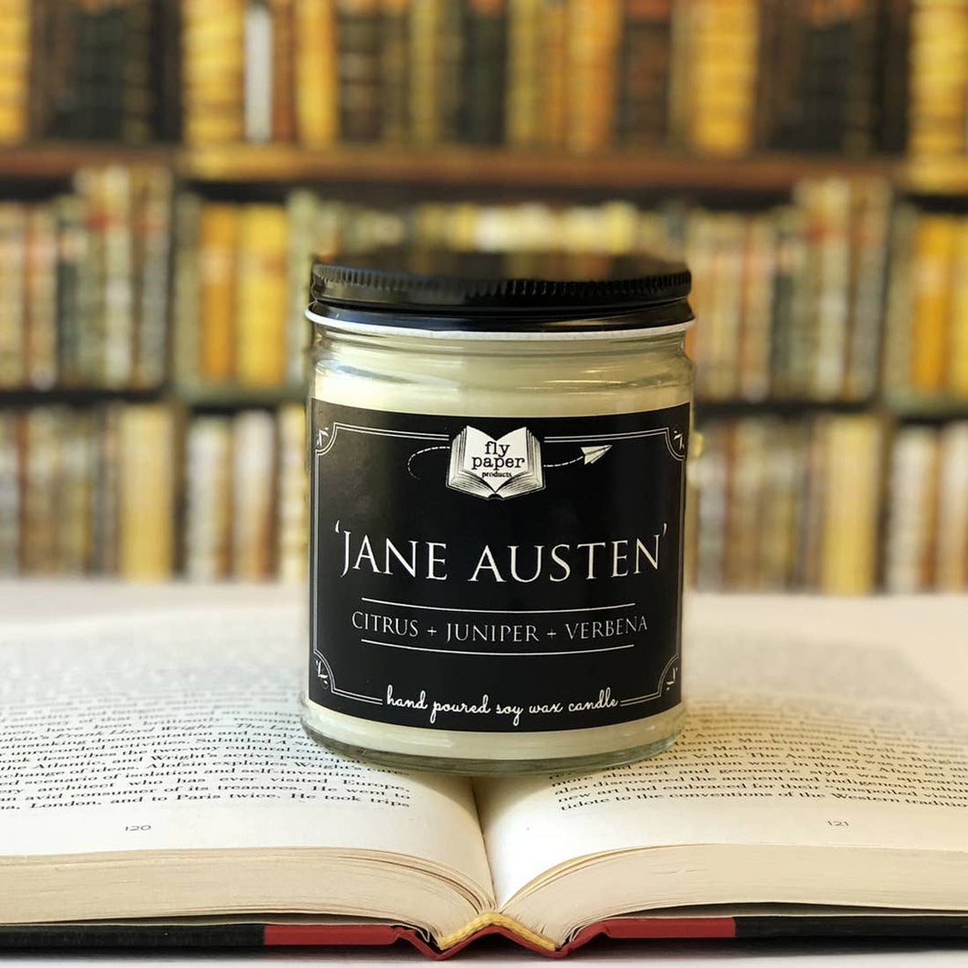 Jane Austen Literary Glass Candle 9 oz
