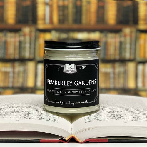 Pemberley Gardens Literary Glass Candle 9 oz