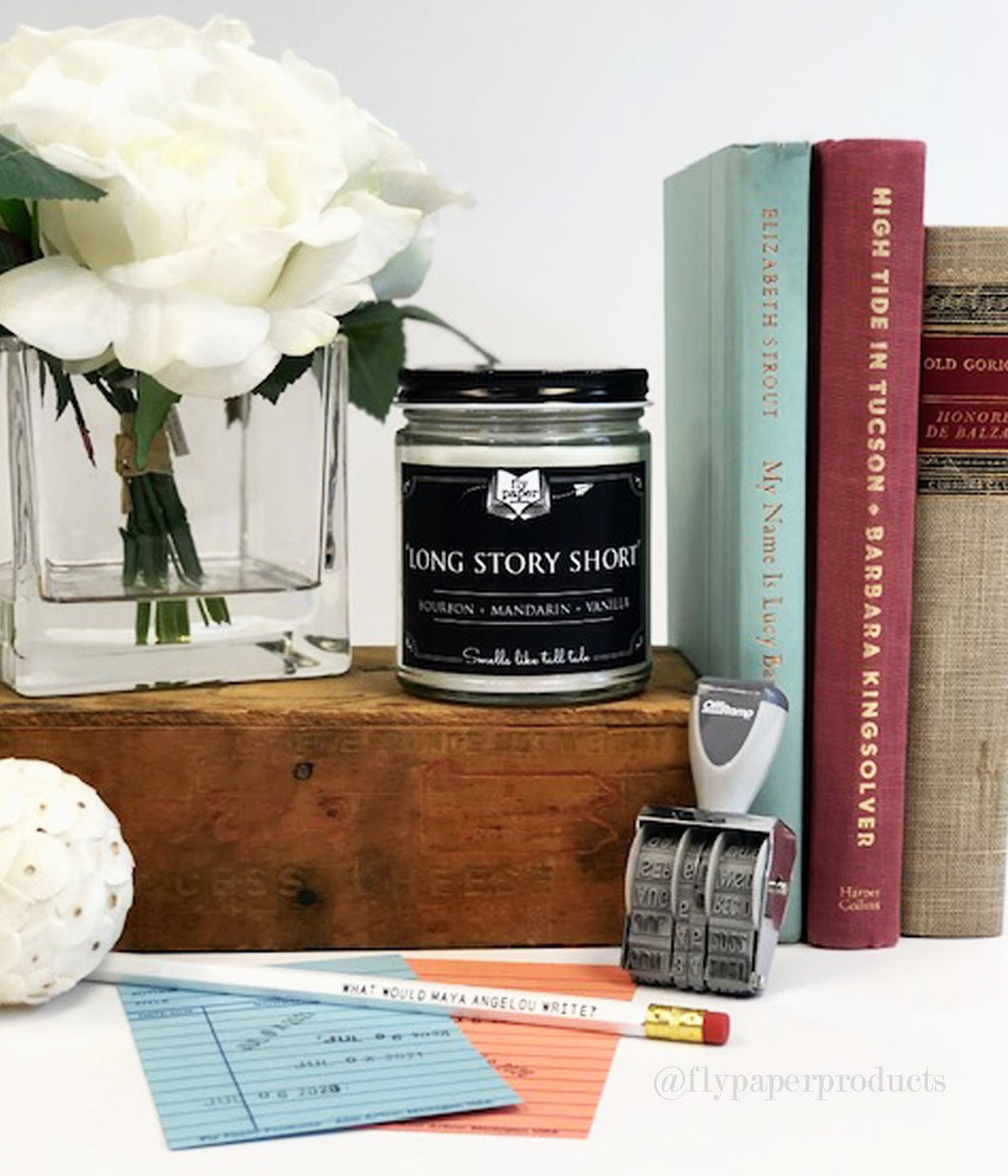 Long Story Short Literary Glass Candle 9 oz