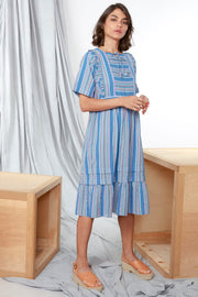 Lorn Dress – Rainbow Stripe Blue