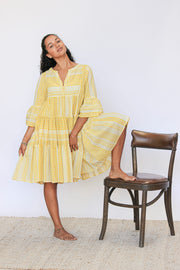 Jaipur Dress – Yellow Block Print