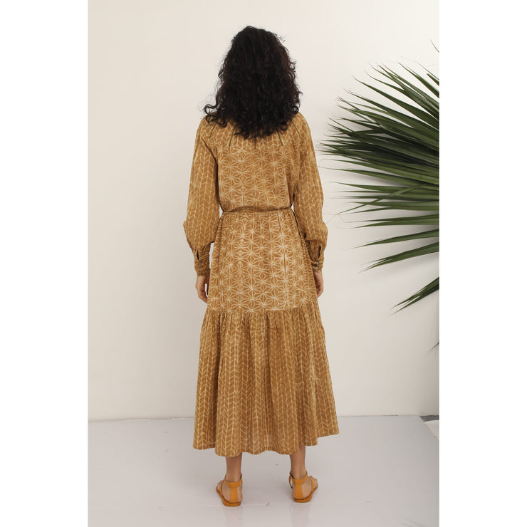 Charita Dress - Khaki Shibori Stripe