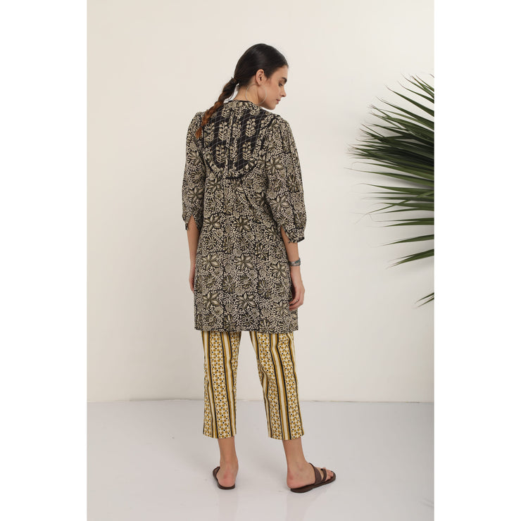Suman Pant - Khaki Bold Stripe Cotton