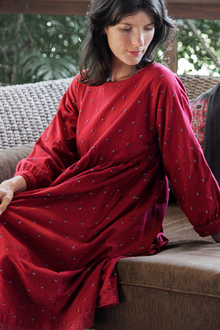 Kuku Dress – Red Khadi