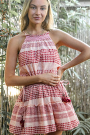 Bira Dress – Peach Block Print