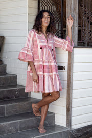 Jaipur Dress – Peach Block Print