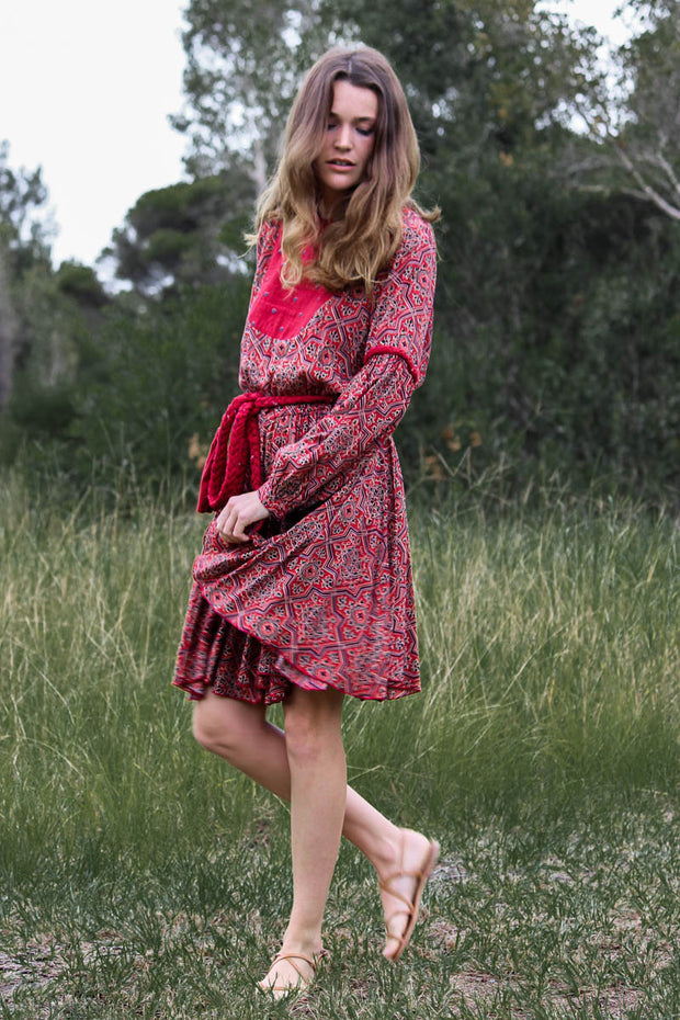 Mandy Dress – Moroccan Red Tile Print