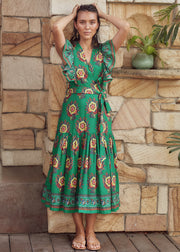 Chand Dress – Suraj Flower Print - Palm Green