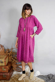 Kopal Women's Dress - Kuku Dress - Magenta Khadi