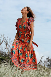 Chand Dress – Suraj Flower Print - Desert Orange
