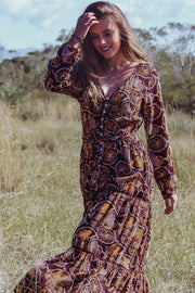 Razy Dress – African Brown Print