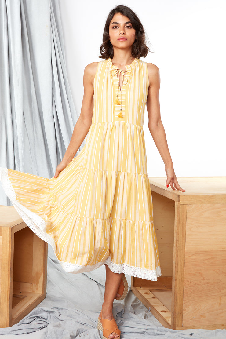 Aditi Dress - Yellow y/d stripe