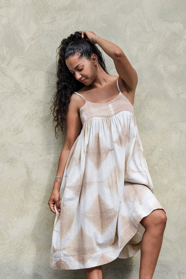 Puja Dress – Shibori Khaki