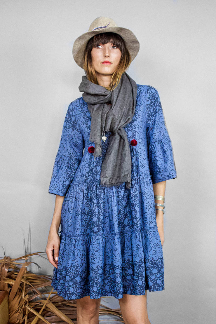 Jaipur Dress – Floral Net Print Indigo